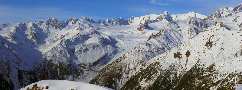 View of the Fox Glacier Névés from spot height 1345m above Mt Fox