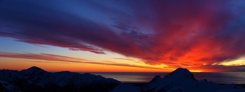 Last evening light on Craig Peak and the Tasman Sea