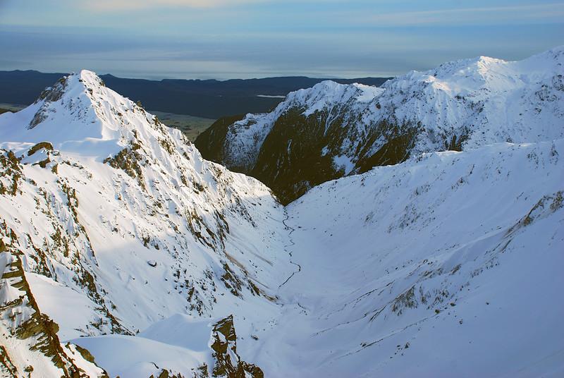Sam Peak and Boyd Creek headwaters from the summit of Crozet Peak