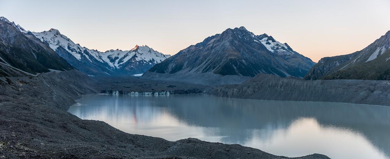 Tasman Glacier and Lake. From left to reight are Mount Haidinger, De La Beche, the Minarets and the Malte Brun Range.