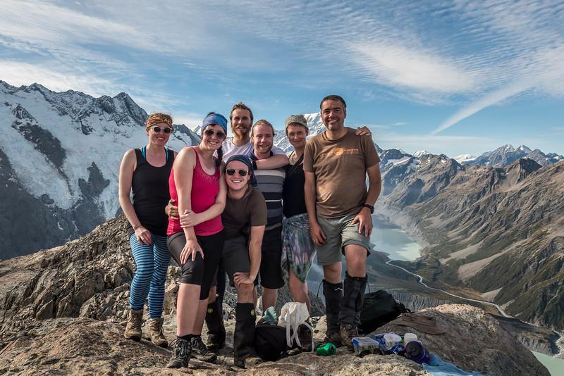 The team on the summit of Mount Ollivier, Sealy Range