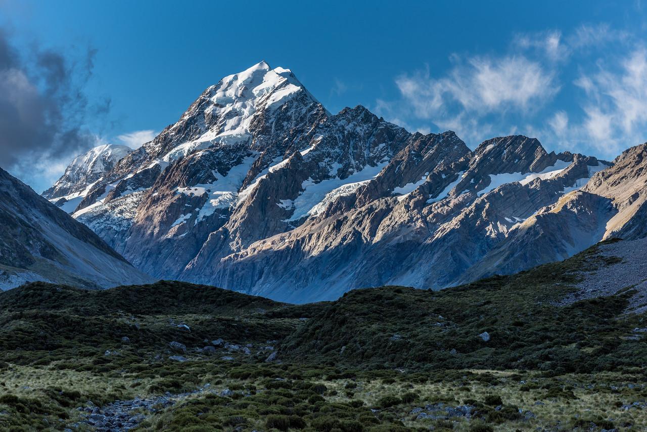 View up the Hooker Valley: Mount Hicks, Aoraki/Mount Cook, Nazomi, Pibrac, Turner Peak and Ball Pass.