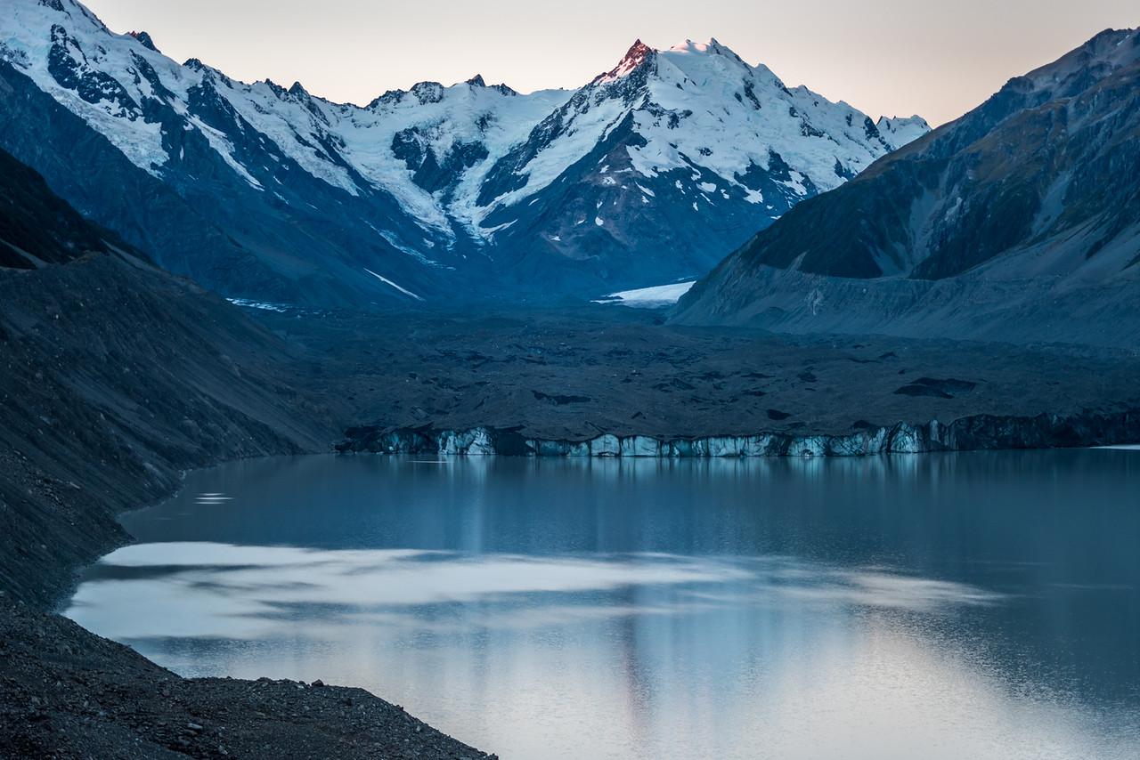 Tasman Glacier and Lake, with Mt Rudolf, De La Beche and the Minarets above.