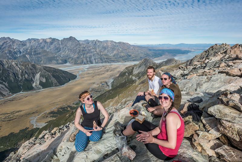 On Mount Ollivier, looking down the Tasman River to Lake Pukaki.