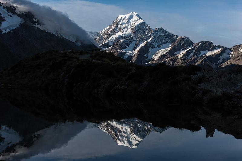 Aoraki/Mount Cook mirrored in the Sealy Tarns