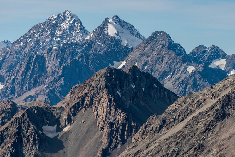 Malte Brun, Mount Chudleigh, Mount Johnson from Mount Ollivier