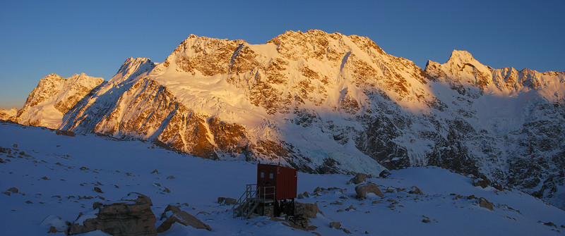 Mueller Hut toilet. Peaks on the skyline are (from left to right): Mt Bannie, Mt Isabel, Maunga Ma, Eagle Peak, Mt Thomson