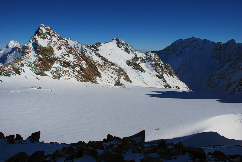 Striding across the Sladden Glacier, James is a little dot dwarfed by Mt Jean, Mt Darby and Mt Burns.