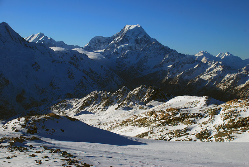 Looking down the Sealy Range from the Annette Plateau. Mt La Perouse and Aoraki/Mt Cook above