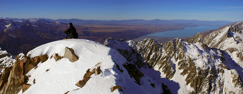On the summit of Mt Sealy. Lake Pukaki behind