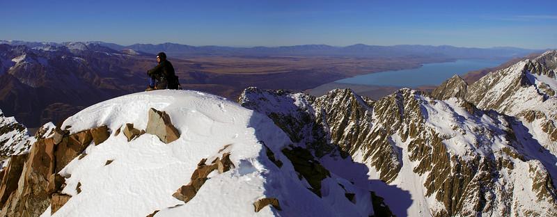 On the summit of Mt Sealy. Lake Pukaki behind