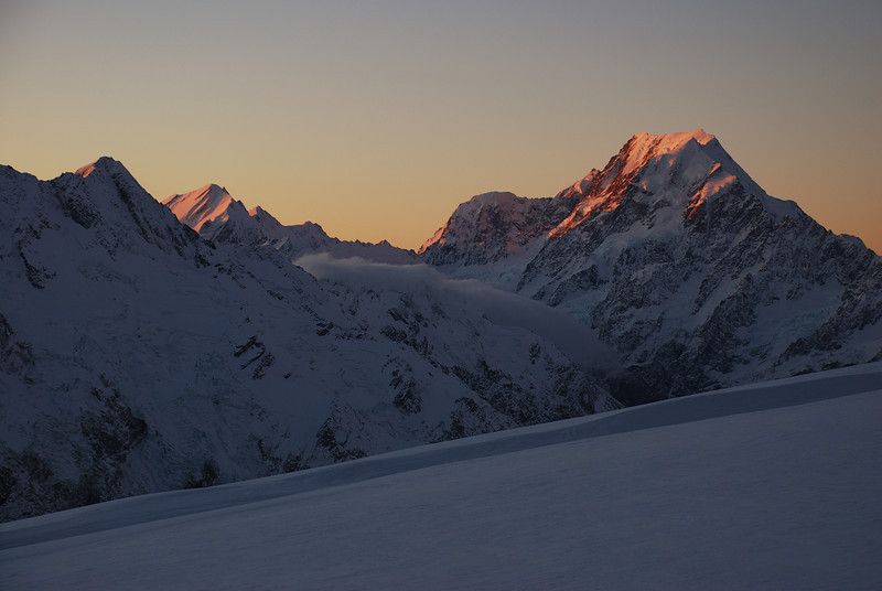 View from the Metelille Glacier: Mt la Perouse and Mt Cook at sunset