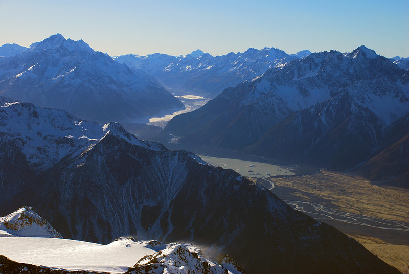 View from the summit of Mt Sealy, looking onto the Tasman Lake and the Murchison Glacier. Malte Brun to the left, Mount D'Archiac at centre image and The Nuns Veil to the right