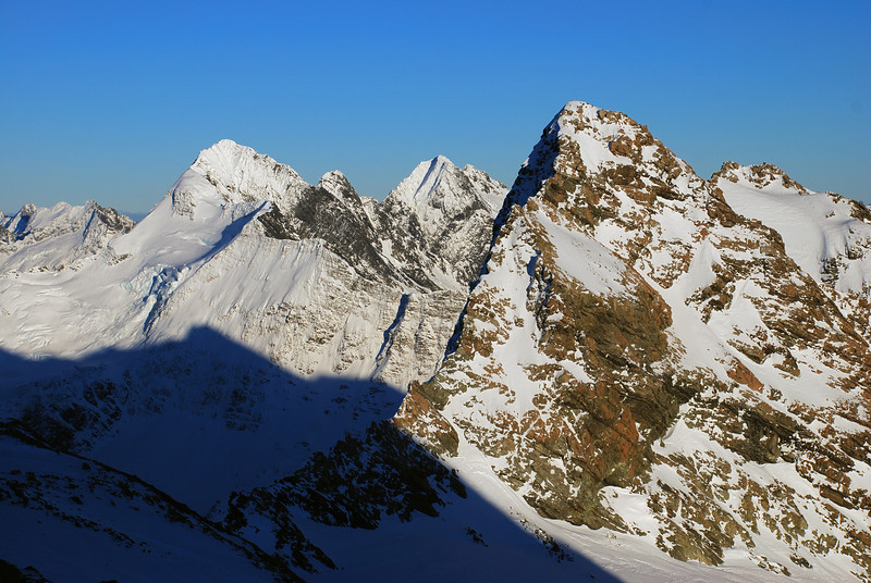 View from the western slopes of Mt Sealy: Mt Hopkins, Black Tower Peak, Mt McKerrow, Mt Jean