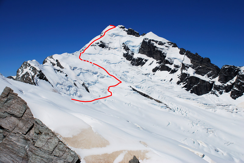 Our route up Mount Sefton from unnamed peak Pt 2451m at the head of the Horace Walker Glacier