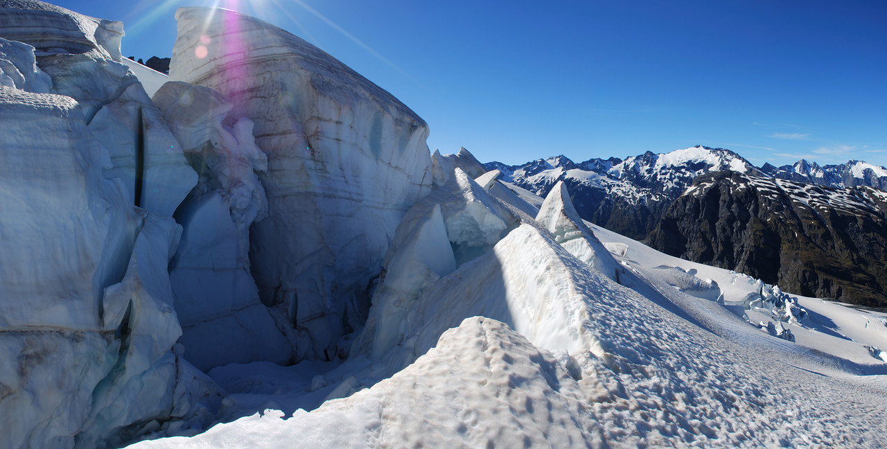 Last obstacle on the Wicks Glacier