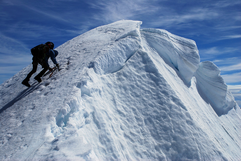 Descending from the summit of Mt Sefton