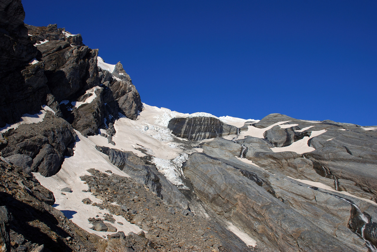 The lower Wicks Glacier from near our campsite on the slopes of Pioneer Peak
