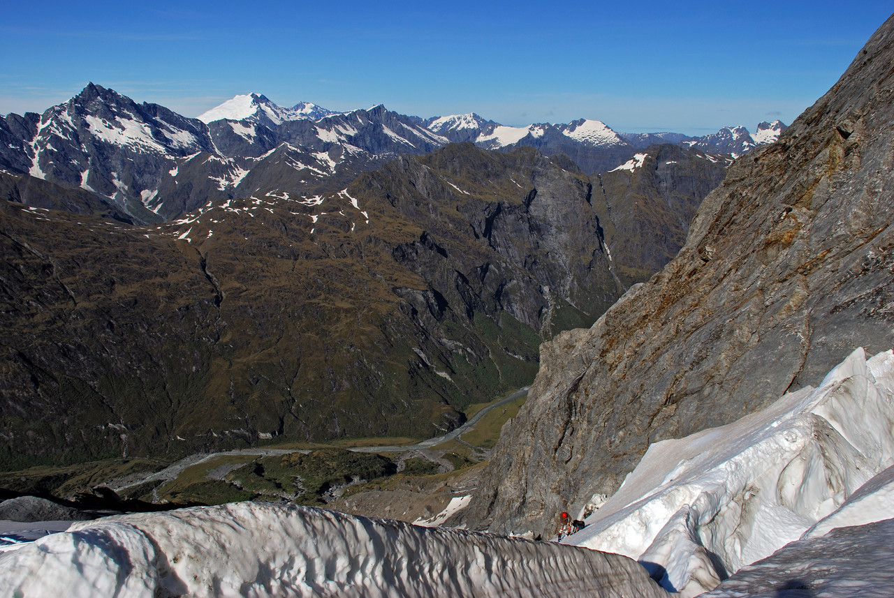 At the top of the steep section on the Wicks Glacier. Back left are Fettes Peak, Mt Strachan, Mt Dechen and Mt Hooker.
