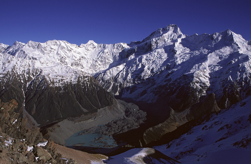 Mount Sefton and Mueller Glacier from Mount Wakefield