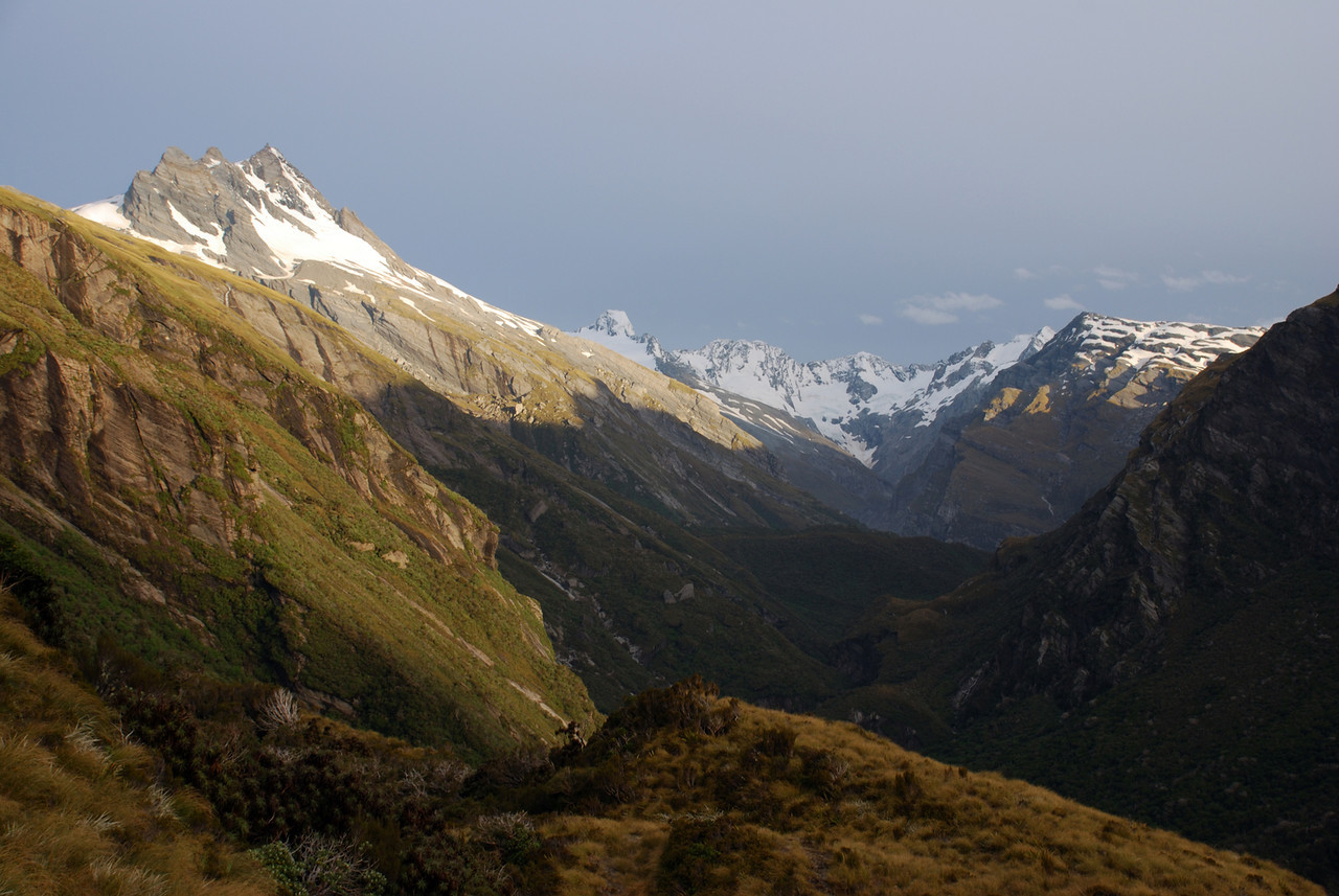 The amazing view into the Douglas from Conical Hill. Pioneer Peak is on the left, The Gladiator on the right, Mt Thomson, Eagle Peak and Maunga Ma at centre image.