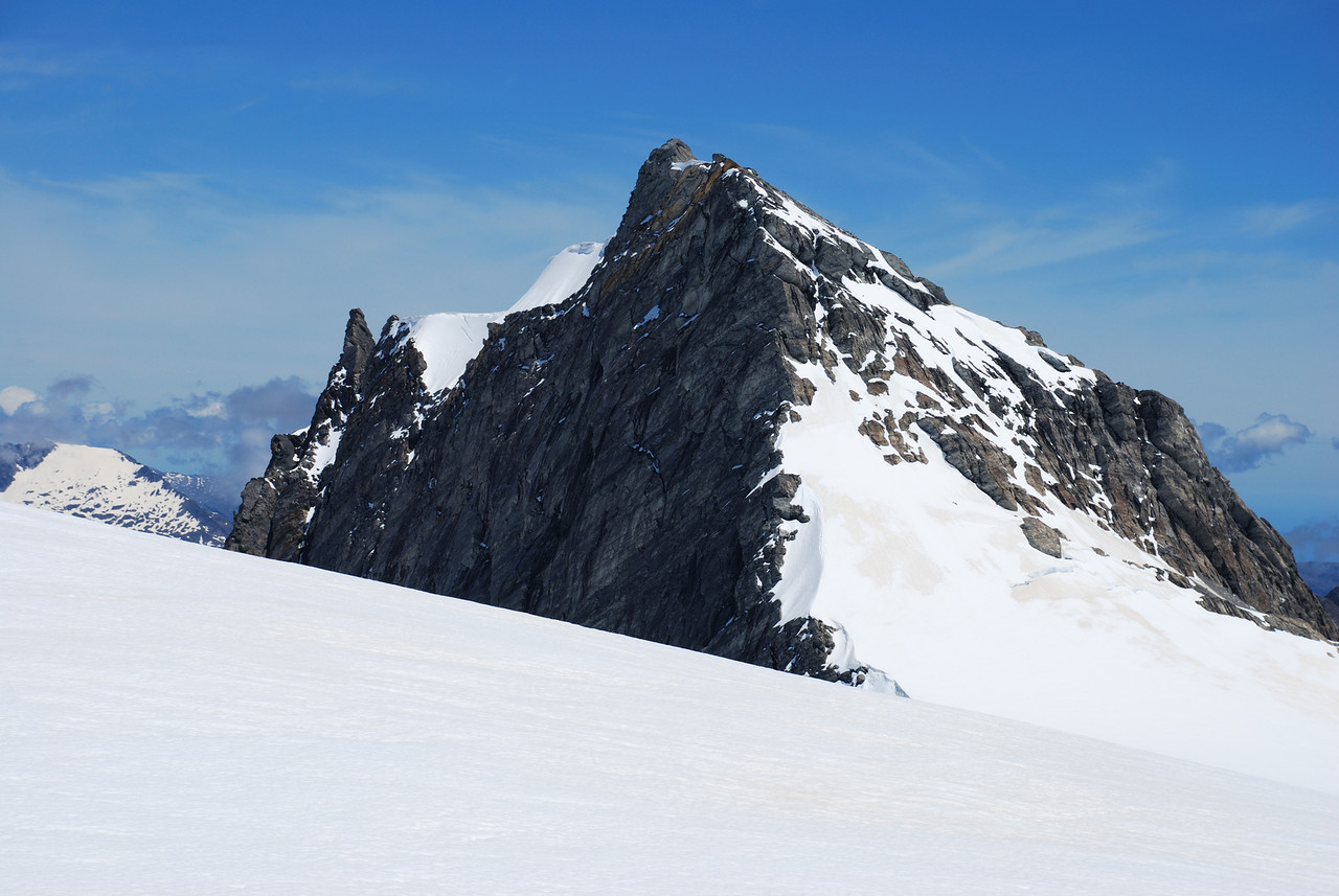 Blizzard Peak at the head of the Horace Walker Glacier