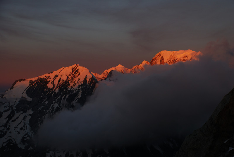 Mt Cook at sunset. Lazy photographer that I am, I took this picture while inside my sleeping bag, through the right-hand door of the tent.