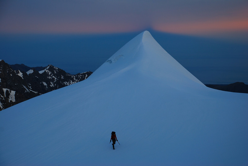 First daylight on the NW ridge of Mt Sefton
