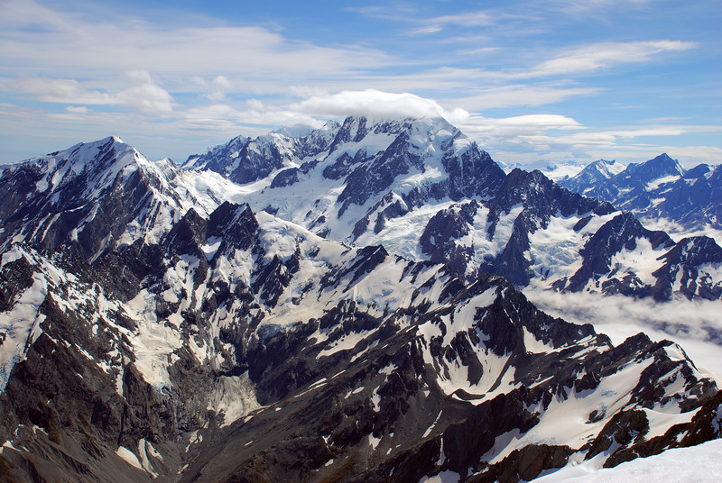 Looking north from the summit of Mt Sefton - Mt Cook and Copland Pass
