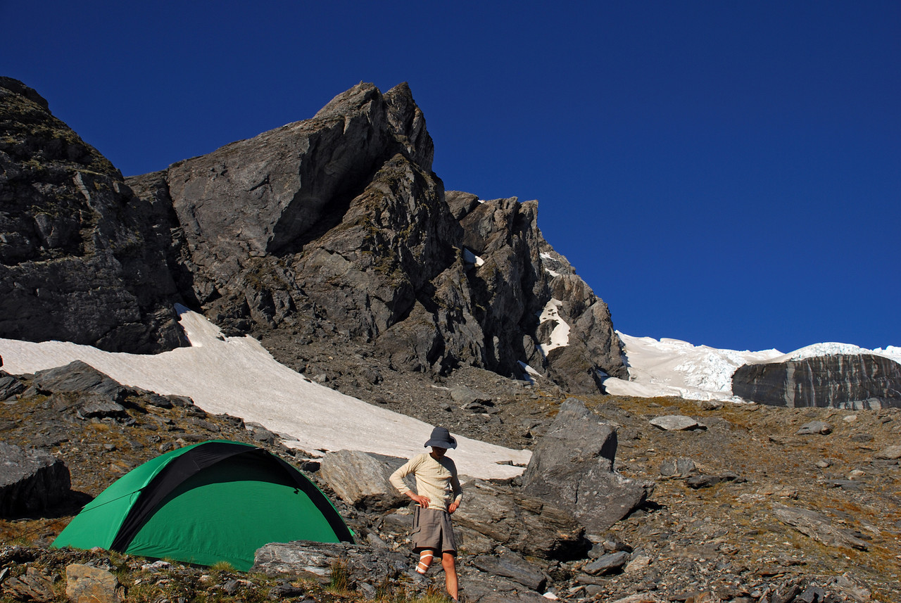 Campsite on the slopes of Pioneer Peak. The Wicks Glacier above to the right.