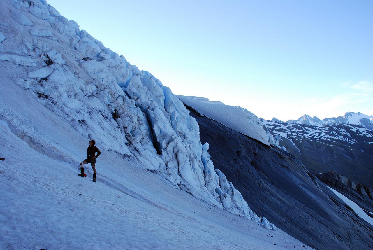 First light on the Wicks Glacier. Mt Hopkins, Black Tower Peak and Mt McKerrow back right