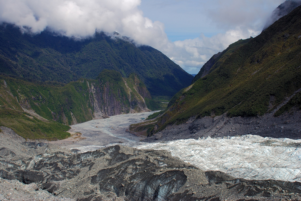 View down the Fox Glacier Terminus
