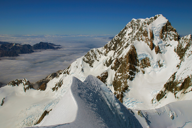 View of Aoraki/Mount Cook from the summit of Mount Tasman