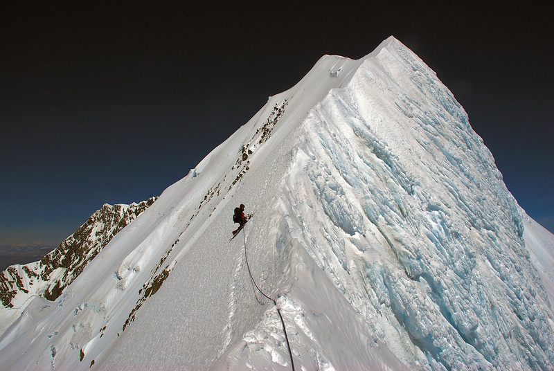 Max descending Mount Tasman's summit ridge