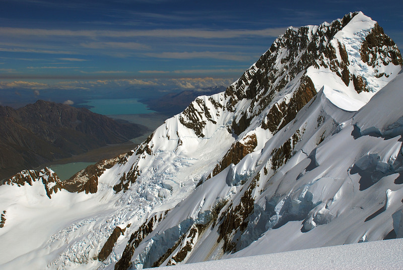 Aoraki/Mount Cook and Lake Pukaki from Mount Tasman's North Shoulder