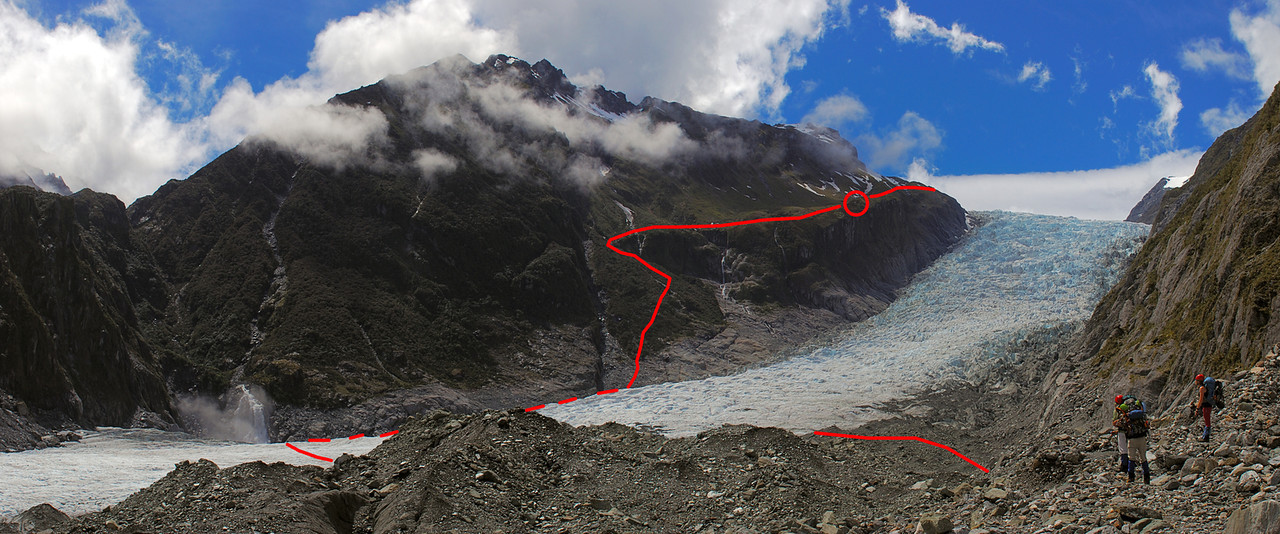 Approaching the end of the moraine at Vic Flat, below the second icefall on Fox Glacier. Red circle around Chancellor Hut; red line shows the route to the hut and beyond