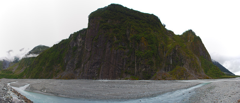 The mammoth bluffs of Cone Rock and the Fox River, just downvalley of the Fox Glacier terminus