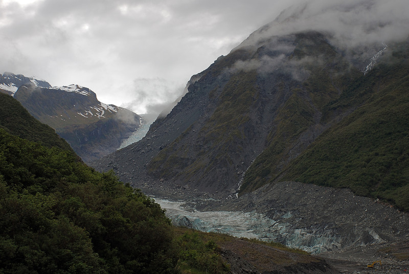 View of Fox Glacier from the tourist track below the glacier terminus