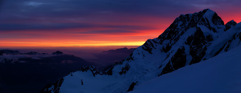 Aoraki / Mount Cook panorama. View from Marcel Col at dusk