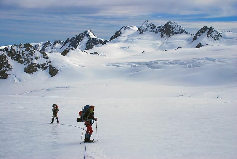Snow shoeing on the Fox Glacier névés