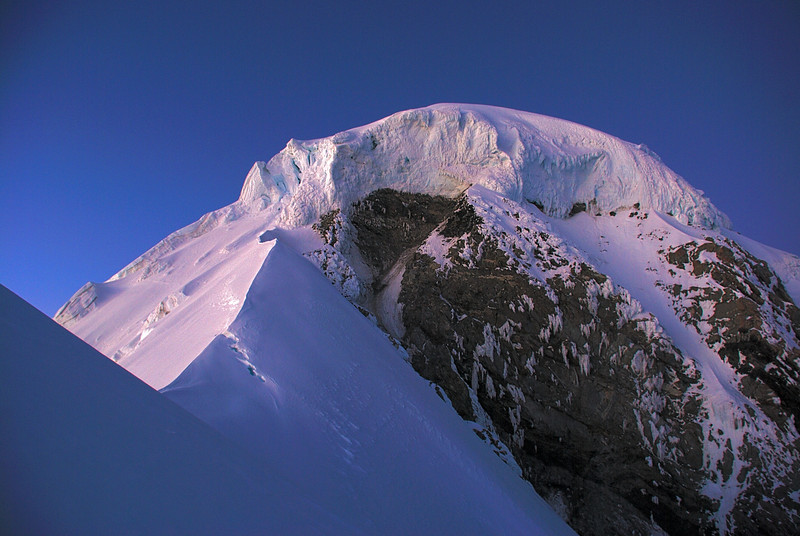 The ice cap on Mount Tasman's North Shoulder at dawn