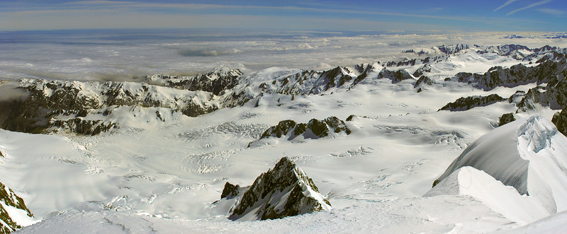 View of the Fox Glacier névés from the summit of Mount Tasman