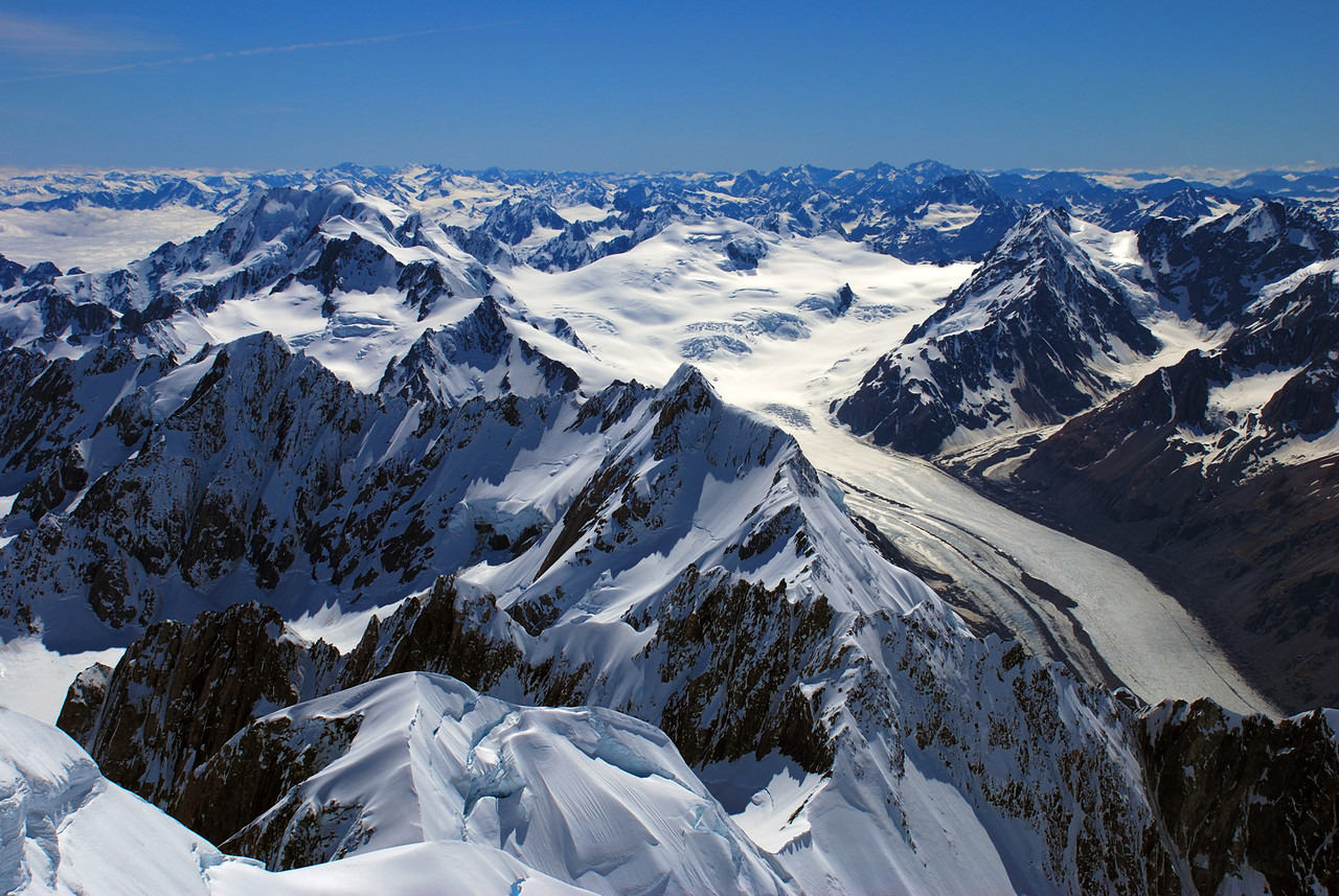 The Tasman Glacier from the summit of Mount Tasman