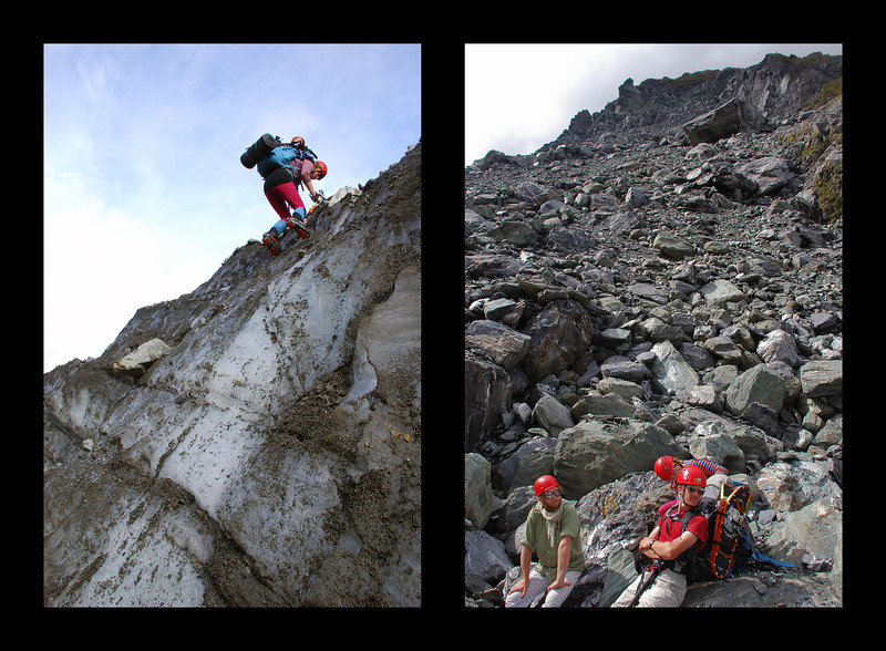 Tiff descending steep ice at the edge of the Fox Glacier (left), and the team taking a break on the unstable moraine at the toe of Paschendale Ridge (right)