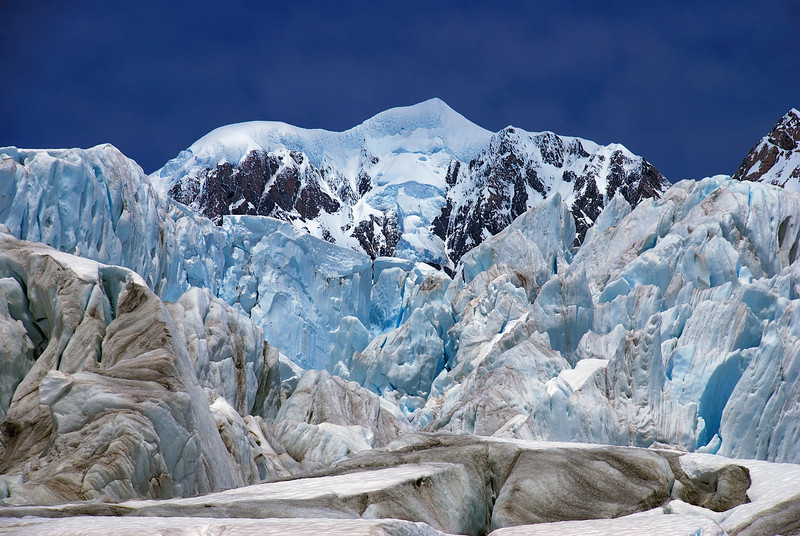Mount Tasman framed by ice-cliffs on Fox Glacier
