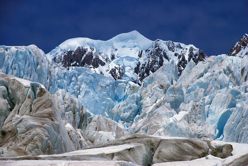 Mount Tasman framed by ice-cliffs on Fox Glacier
