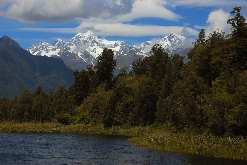 Mount Tasman and Aoraki/Mount Cook from Lake Matheson