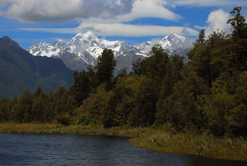 Mount Tasman and Aoraki/Mount Cook from Lake Matheson