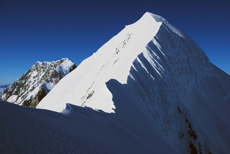 Mount Tasman's summit, and the exhilarating north-east ridge. Yes we had fun climbing it