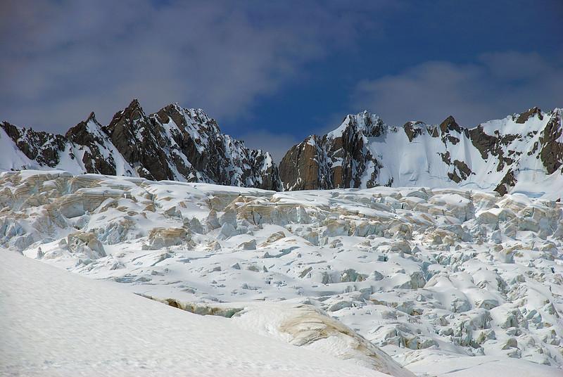 Peaks at the head of Fox Glacier: Triad, Mallory, Barnicoat, Conway and Bristol